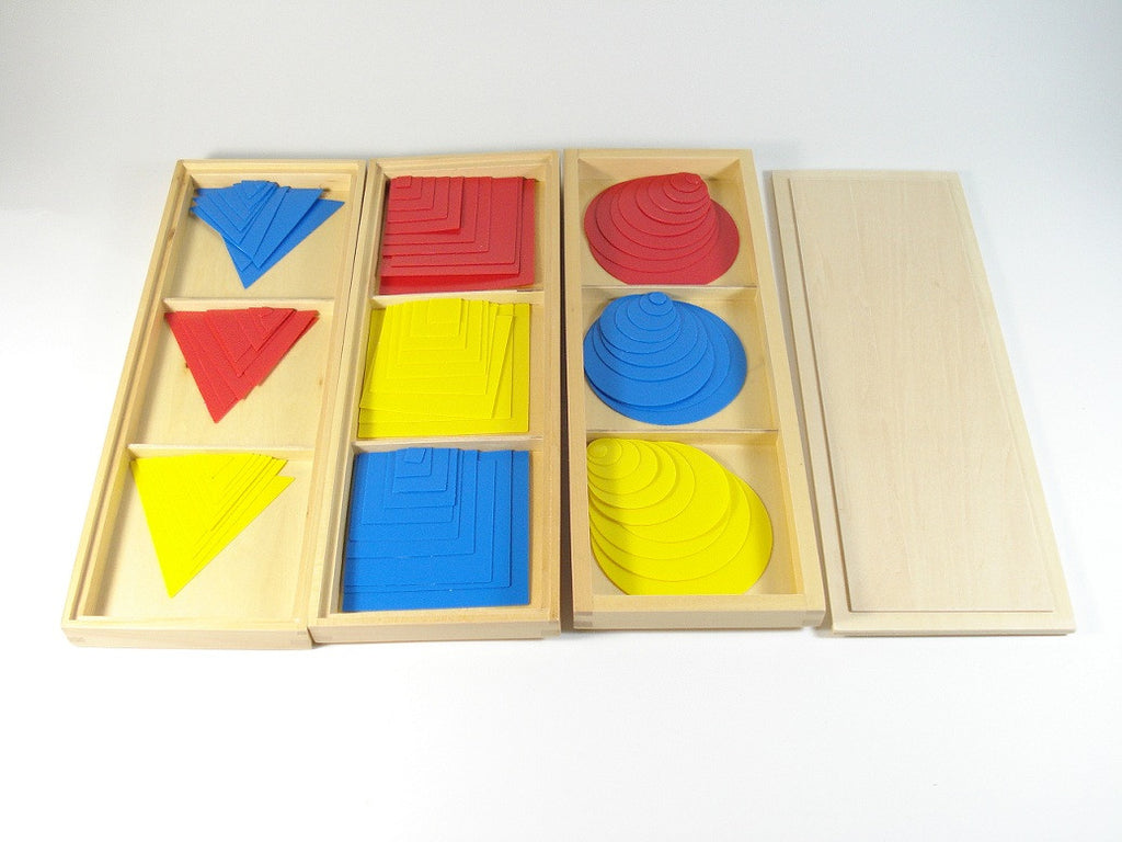 Circles, Squares and Triangles in 3 partitioned Boxes