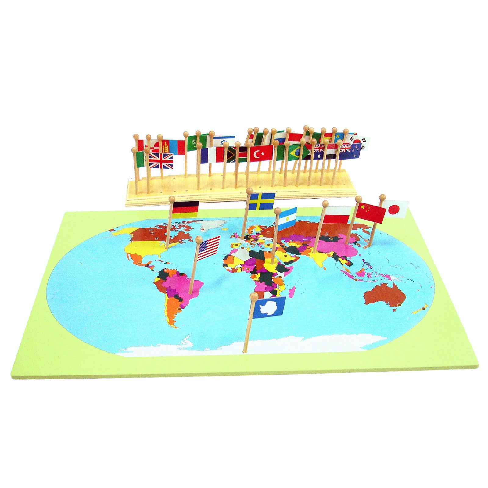 Flag stand world map with flags montessori shop flag stand world map with flags gumiabroncs Image collections