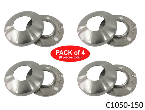 "Stainless Steel 316 Grade Round Base Cover and Plate for 1-1/2"" Post Fitting (C1050-150)"