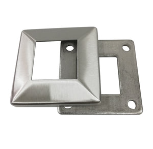 "Stainless Steel 316 Grade Square Base Cover and Plate for 1-1/2"" Post Fitting (C1060-150) - SHEMONICO"