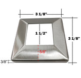 "Stainless Steel 316 Grade Square Base Cover and Plate for 1-1/2"" Post Fitting (C1060-150) - SHEMONICO Cable Railing"