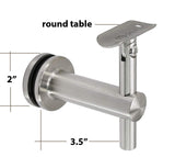 "Stainless Steel Glass Mount Handrail Bracket for 1 1/2"" Round or Square Tube  Satin Finish T316 Marine Grade (G1020) - SHEMONICO Cable Railing"