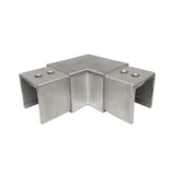 "90 Degree Horizontal Corner Elbow for 1-1/2"" Square Glass Cap Railing T316 (G1110-150-150) - SHEMONICO"