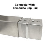 "Square Connector for 1-1/2"" Square Cap Railing Slot Tube Stainless Steel T316 (G1120-150-150) - SHEMONICO"