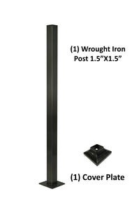 "Wrought Iron Railing Blank Steel Square Post 1 1/2"" Wide 42"" Tall No Holes - SHEMONICO"