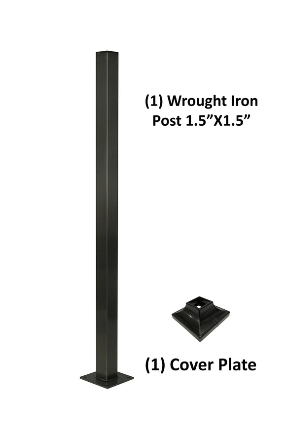 Wrought Iron Railing Blank Steel Square Post 1 1/2