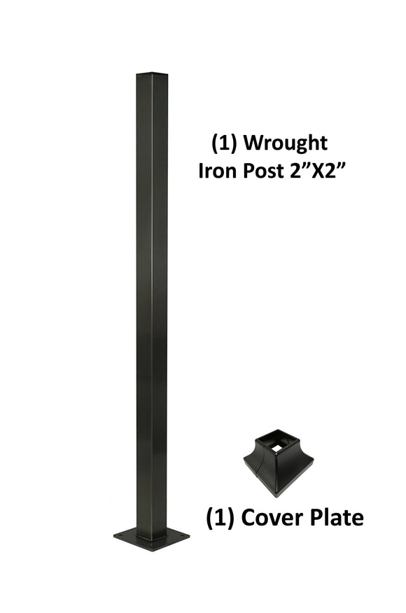 Wrought Iron Railing Blank Steel Square Post 2