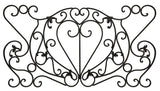"Decorative Ornamental Panel Fence 59"" x 31"" Wrought Iron Metal Outdoor (70040) - SHEMONICO"
