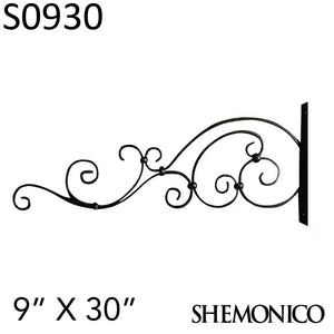 "100% Wrought Iron Sign Hanger Wall Bracket 9"" X 30"" (S0930) - SHEMONICO Cable Railing"