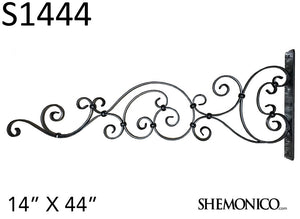 "100% Wrought Iron Ornamental Sign Hanger 14"" x 44"" (S1444) - SHEMONICO Cable Railing"