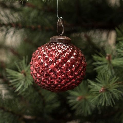 Red Hobnail Glass Ornament