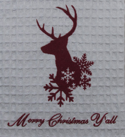 8-Point Buck Embroidred Towel:  Merry Christmas, Y'all