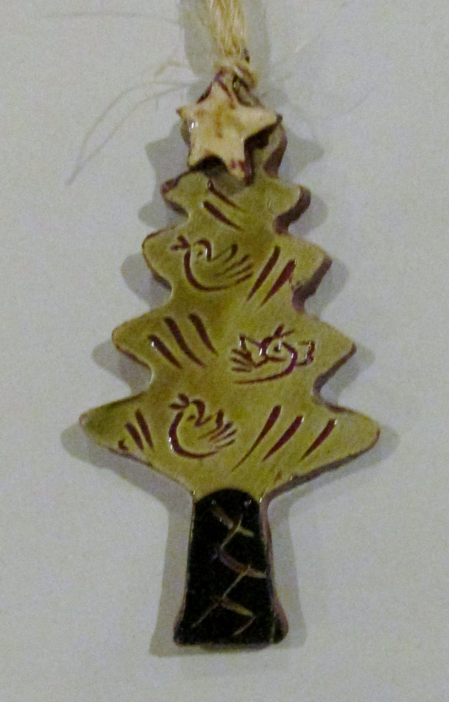 A Holiday Forest Redware Tree Ornaments -- with Birds