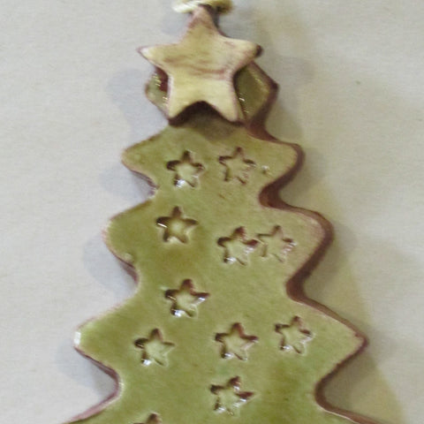 A Holiday Forest Redware Tree Ornaments -- Stars Only