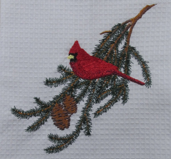 Christmas Cardinal Embroidered Towel