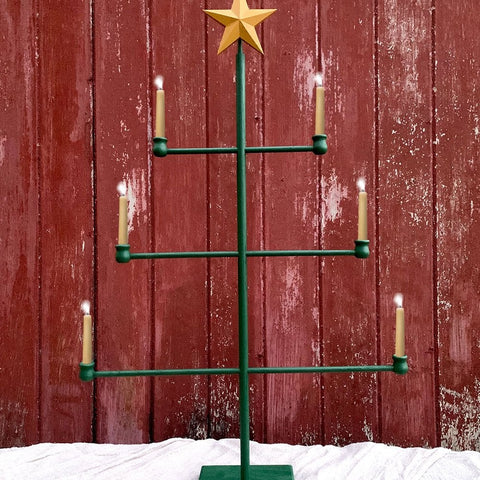 Wood Dowel Tree: Green or Natural with Star