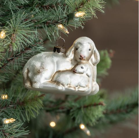Ewe & Lamb Glass Ornament