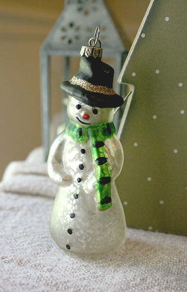 Mercury Glass Snowman with Green Scarf Ornament