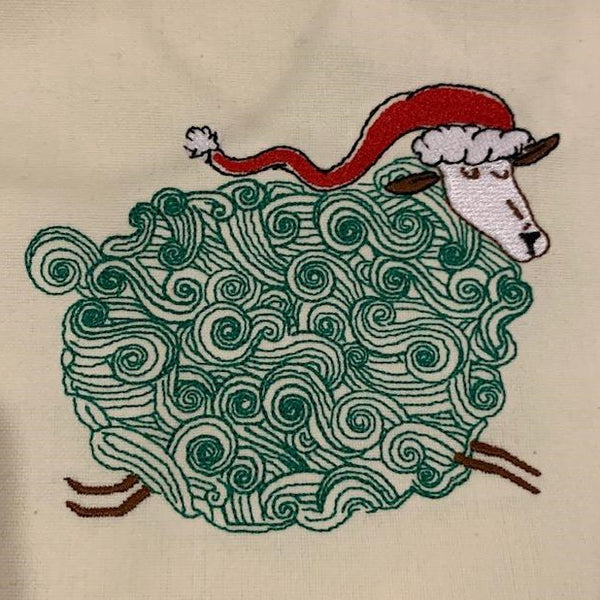 Swirly Sheep on Red Stripe - Embroidered Towel