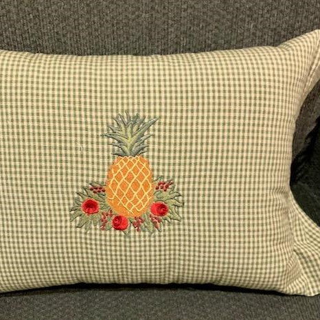 Pineapple in Apple Wreath Embroidered Pillow - SAVE 50%