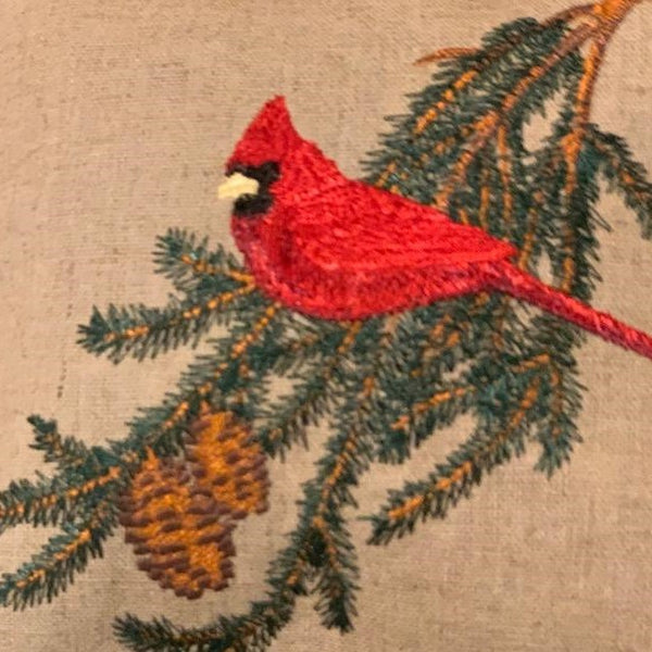 Cardinal Embroidered Lavender Sachet Pillow -- Only 1 available