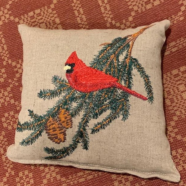 Cardinal Embroidered Lavender Sachet Pillow