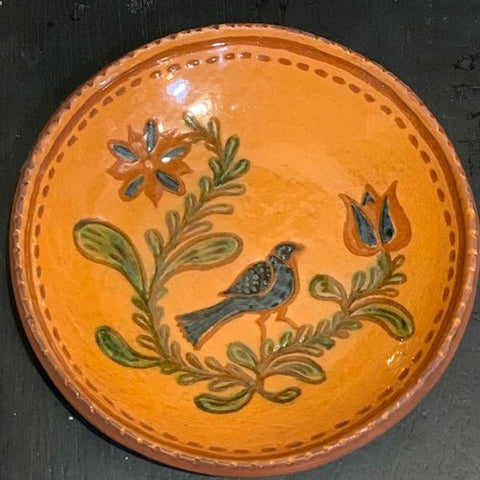 Crocker & Springer Redware Plate:  Bird - Only 1 available