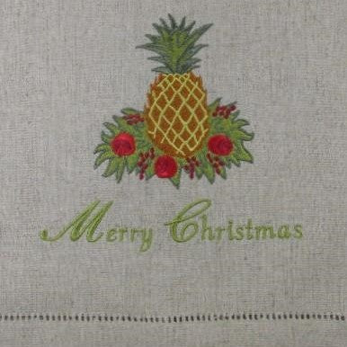 Pineapple Merry Christmas Embroidered Towel