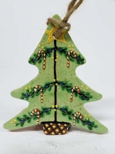 Festive Tree with Candy Canes Redware Ornament