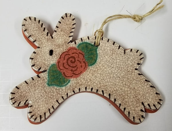 Quilted Redware Rabbit Ornament