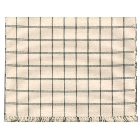 Pewter & Cream Windowpane Check Table Runner
