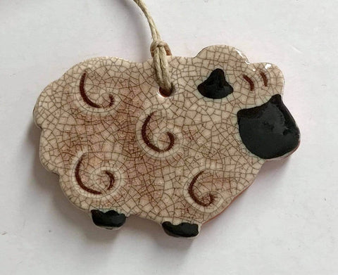 Fluffy Sheep Redware Ornament