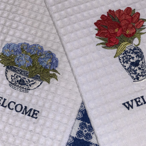Tulips and Hydrangeas: Seasonal Towel Set (Spring/Summer )