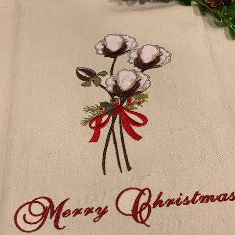 """Merry Christmas"" Cotton Boll  on Red Stripe - Embroidered Towel"