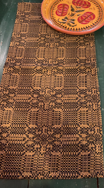Runner, Mount Vernon Pattern, Black/Mustard