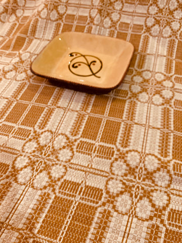 Large Table Square, Yorktown Weave Pattern, Mustard/Cream