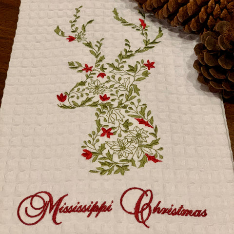 Mississippi Christmas, Deer on White Waffle, Embroidered Towel - SAVE 50%