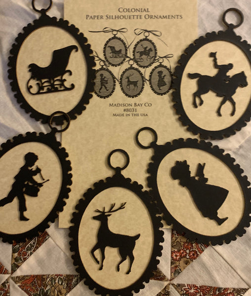 Colonial-Themed Silhouette Ornaments
