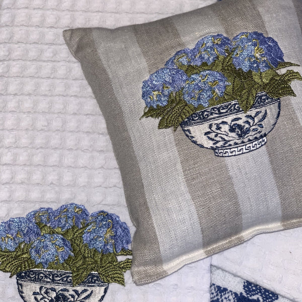 Hydrangea Embroidered Lavender Sachet Pillow
