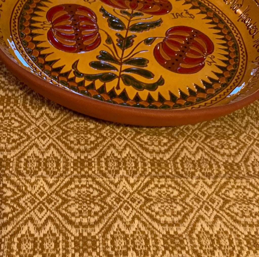 Runner, Pebble Brook Pattern, Mustard/Cream