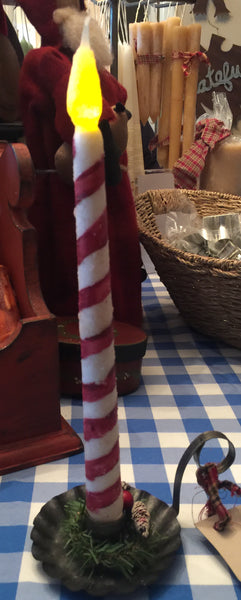 Candy Stripe 11 Inch Timer Battery Operated Candles
