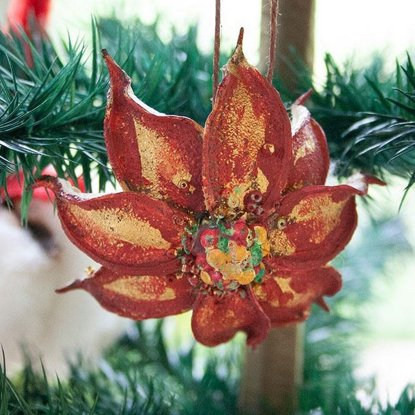 Cotton Husk Poinsettia Ornaments