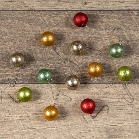 Mini Antique Mercury Glass Ornaments, Set of 12