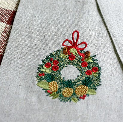 Della Robbia Wreath Embroidered Towel