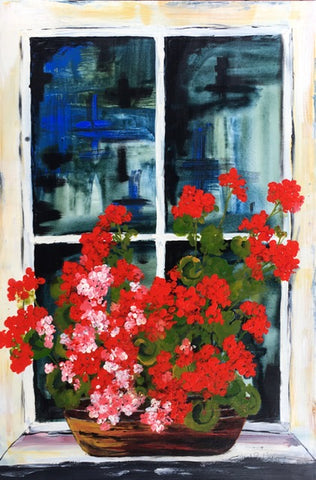 Card (LARGE window pots collection) - Geraniums
