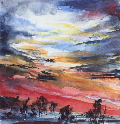 Painting - look up series: sunset drama
