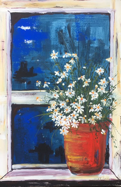 Card (LARGE window pots collection) - Daisies