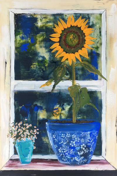 Card (LARGE window pots collection) - Sunflower