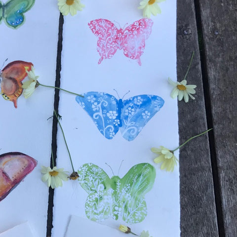 Painting - Butterfly pastel trio