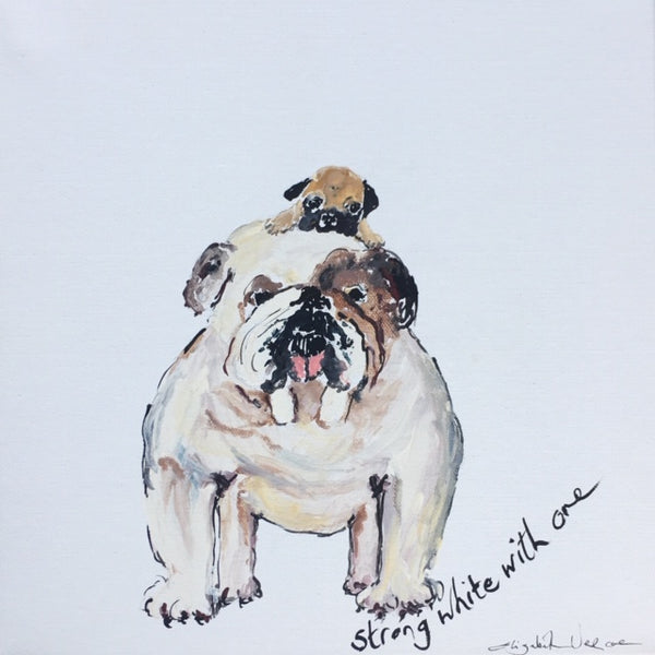 Painting - Coffee Dogs Collection, Strong White with One.